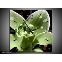 Wandklok op Canvas Iris | Kleur: Groen, Zwart | F005128C