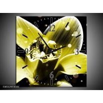 Wandklok op Canvas Iris | Kleur: Geel, Zwart | F005129C