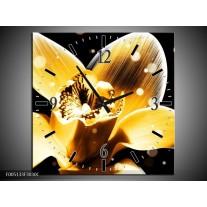 Wandklok op Canvas Bloem   Kleur: Geel, Zwart   F005133C