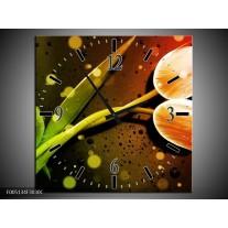 Wandklok op Canvas Tulp   Kleur: Oranje, Groen, Rood   F005134C