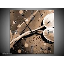Wandklok op Canvas Tulp | Kleur: Grijs, Wit | F005143C