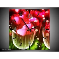 Wandklok op Canvas Tulp | Kleur: Rood, Groen, Zwart | F005146C