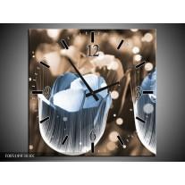 Wandklok op Canvas Tulp | Kleur: Blauw, Grijs | F005149C