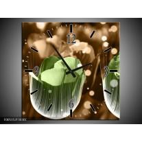 Wandklok op Canvas Tulp | Kleur: Groen, Bruin | F005152C