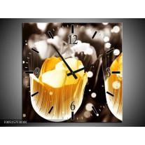 Wandklok op Canvas Tulp | Kleur: Geel, Grijs, Wit | F005157C