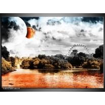 Foto canvas schilderij Natuur | Oranje, Grijs, Wit