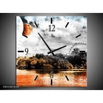 Wandklok op Canvas Natuur | Kleur: Oranje, Grijs, Wit | F005158C