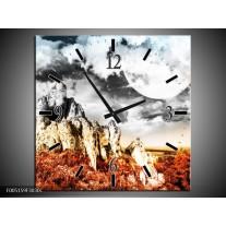 Wandklok op Canvas Natuur | Kleur: Oranje, Grijs, Wit | F005159C