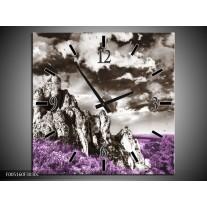 Wandklok op Canvas Natuur | Kleur: Paars, Grijs | F005160C