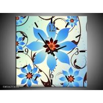 Wandklok op Canvas Modern | Kleur: Blauw, Wit | F005167C