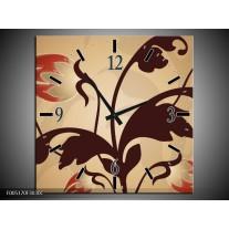 Wandklok op Canvas Modern   Kleur: Bruin, Grijs   F005170C