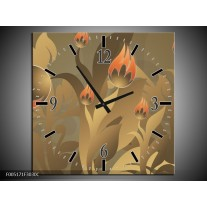 Wandklok op Canvas Modern | Kleur: Bruin, Grijs | F005171C