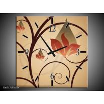 Wandklok op Canvas Modern | Kleur: Bruin, Grijs | F005172C