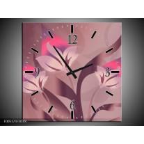 Wandklok op Canvas Modern | Kleur: Paars, Roze | F005173C