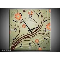Wandklok op Canvas Modern | Kleur: Bruin, Oranje | F005177C