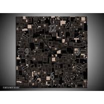 Wandklok op Canvas Modern | Kleur: Zwart, Grijs | F005190C