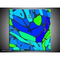 Wandklok op Canvas Modern   Kleur: Blauw, Groen   F005201C