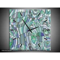 Wandklok op Canvas Modern | Kleur: Groen, Blauw | F005203C