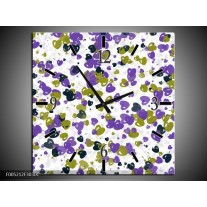 Wandklok op Canvas Modern | Kleur: Paars, Groen, Wit | F005212C