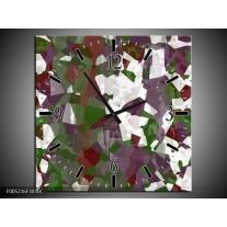 Wandklok op Canvas Modern | Kleur: Wit, Paars, Groen | F005216C