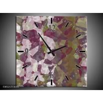 Wandklok op Canvas Modern   Kleur: Wit, Paars, Groen   F005217C