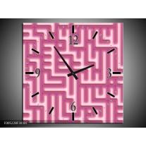 Wandklok op Canvas Modern | Kleur: Roze, Wit | F005228C
