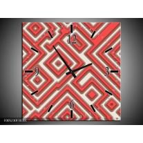 Wandklok op Canvas Modern | Kleur: Rood, Wit, Grijs | F005230C
