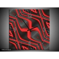 Wandklok op Canvas Modern | Kleur: Rood, Grijs | F005237C