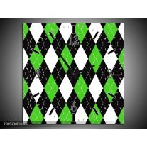Wandklok op Canvas Modern | Kleur: Groen, Wit | F005238C