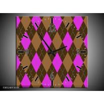 Wandklok op Canvas Modern | Kleur: Paars, Bruin | F005240C