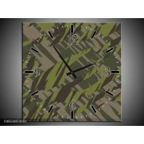 Wandklok op Canvas Modern | Kleur: Groen, Grijs, Zwart | F005244C