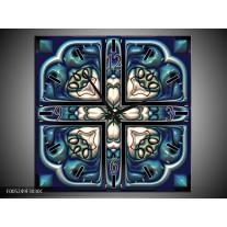 Wandklok op Canvas Modern   Kleur: Blauw, Wit   F005249C