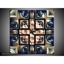 Wandklok op Canvas Modern | Kleur: Blauw, Wit | F005250C