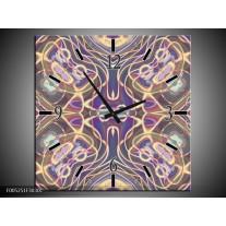 Wandklok op Canvas Modern | Kleur: Paars, Blauw, Geel | F005251C