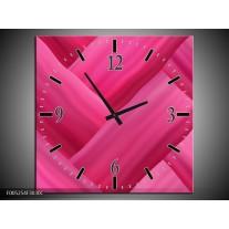 Wandklok op Canvas Modern   Kleur: Roze   F005254C