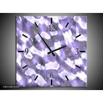 Wandklok op Canvas Modern | Kleur: Wit, Grijs, Paars | F005258C