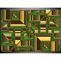 Foto canvas schilderij Modern | Groen, Geel, Oranje