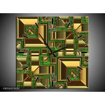 Wandklok op Canvas Modern | Kleur: Groen, Geel, Oranje | F005261C
