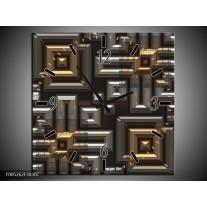 Wandklok op Canvas Modern   Kleur: Grijs, Geel, Zwart   F005262C