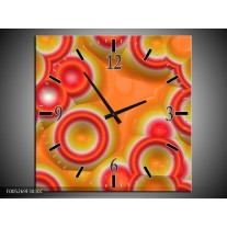 Wandklok op Canvas Modern | Kleur: Oranje, Rood, Geel | F005269C