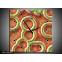 Wandklok op Canvas Modern | Kleur: Groen, Rood, Bruin | F005274C