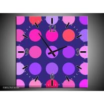 Wandklok op Canvas Modern | Kleur: Blauw, Paars, Roze | F005276C