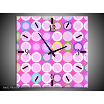 Wandklok op Canvas Modern | Kleur: Paars, Wit, Groen | F005277C