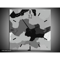 Wandklok op Canvas Modern | Kleur: Grijs, Zwart, Wit | F005280C