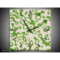 Wandklok op Canvas Modern   Kleur: Groen, Grijs   F005285C