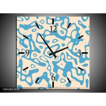 Wandklok op Canvas Modern | Kleur: Blauw, Grijs | F005286C