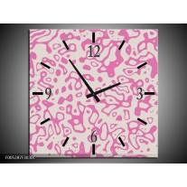 Wandklok op Canvas Modern | Kleur: Roze, Grijs | F005287C