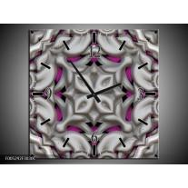 Wandklok op Canvas Modern | Kleur: Grijs, Paars | F005292C