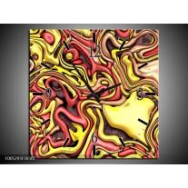 Wandklok op Canvas Modern | Kleur: Geel, Rood | F005293C