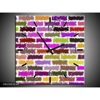 Wandklok op Canvas Modern | Kleur: Paars, Groen, Geel | F005294C